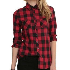 Hot Topic Black & Red Plaid Flannel